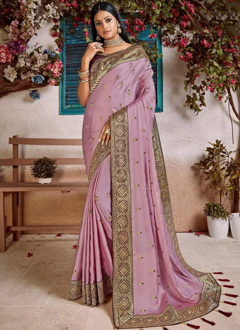 Embroidered Lavender Art Silk Designer Traditional Saree