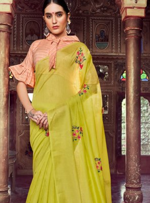 Embroidered Linen Green Casual Saree