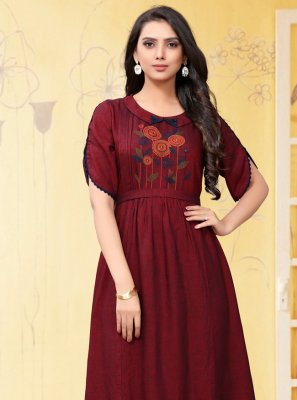 Embroidered Linen Party Wear Kurti in Maroon