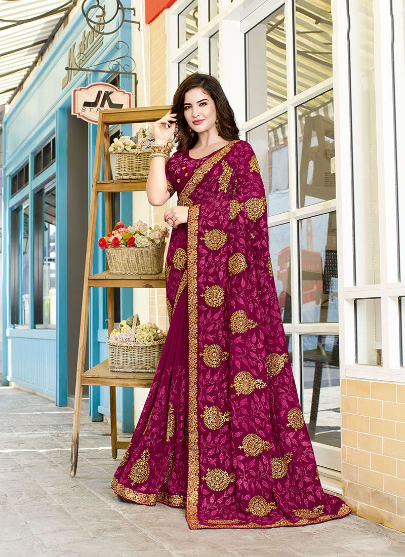 Embroidered Magenta Faux Georgette Traditional Saree
