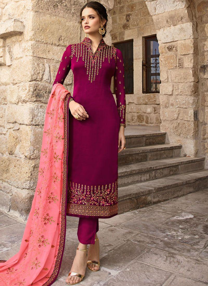 Embroidered Magenta Georgette Designer Salwar Kameez
