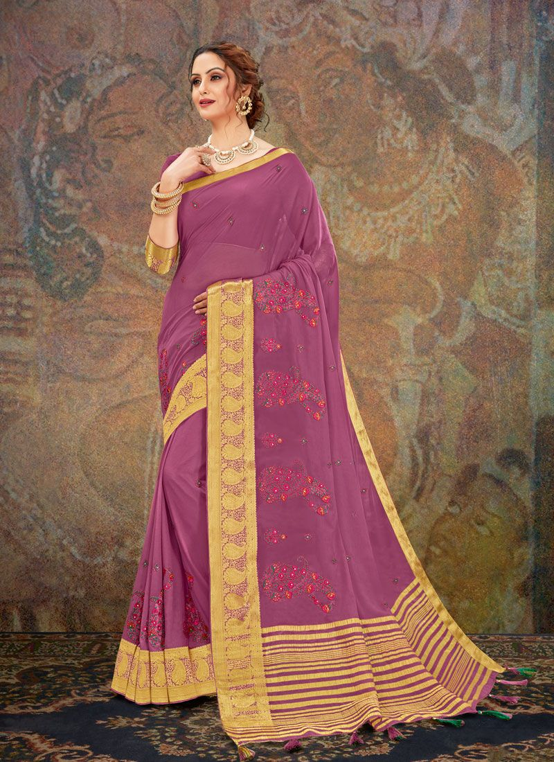 Embroidered Magenta Traditional Saree