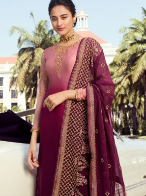 Embroidered Maroon and Peach Trendy Palazzo Salwar Kameez