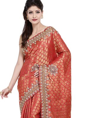 Embroidered Maroon Art Silk Designer Saree