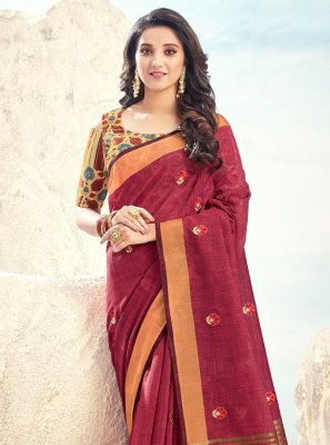 Embroidered Maroon Cotton Trendy Saree