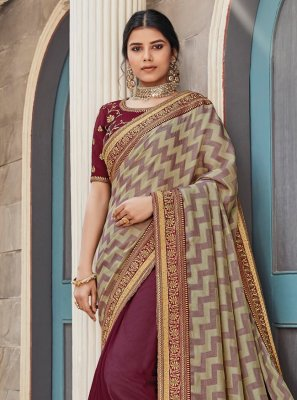 Embroidered Maroon Designer Half N Half Saree