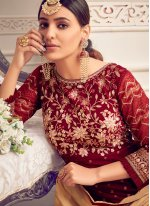Embroidered Maroon Designer Palazzo Salwar Suit