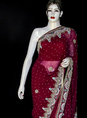 Embroidered Maroon Designer Saree