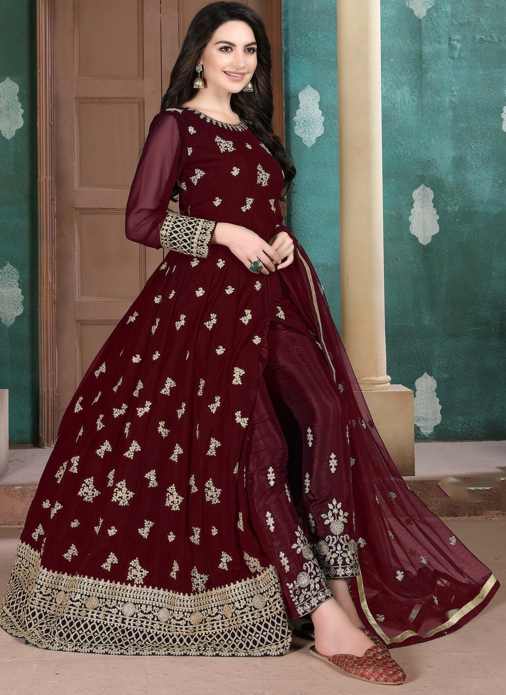 Embroidered Maroon Georgette Salwar Suit