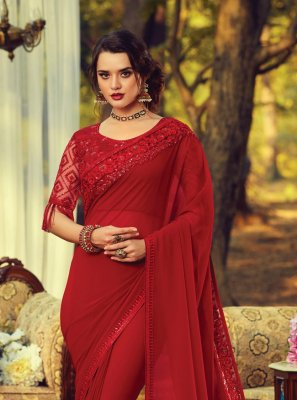 Embroidered Maroon Georgette Trendy Saree