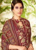 Embroidered Maroon Pashmina Designer Suit