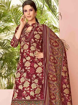 Embroidered Maroon Pashmina Designer Suit