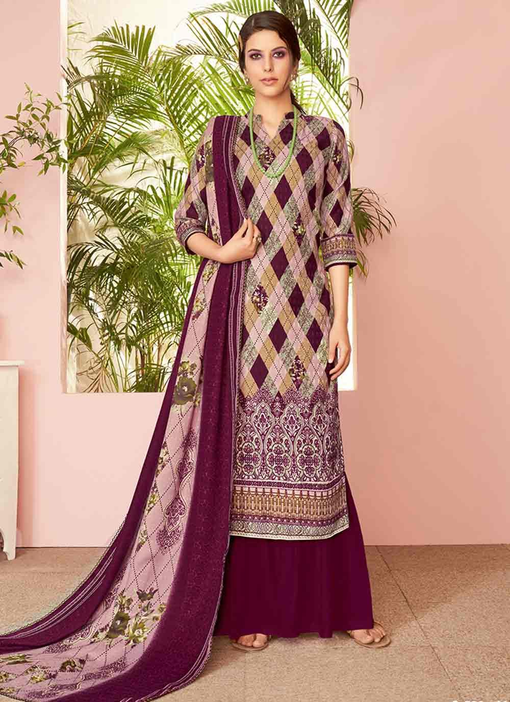 Embroidered Maroon Pashmina Salwar Suit