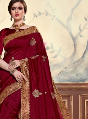 Embroidered Maroon Poly Silk Classic Saree