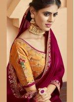 Embroidered Maroon Silk Silk Saree