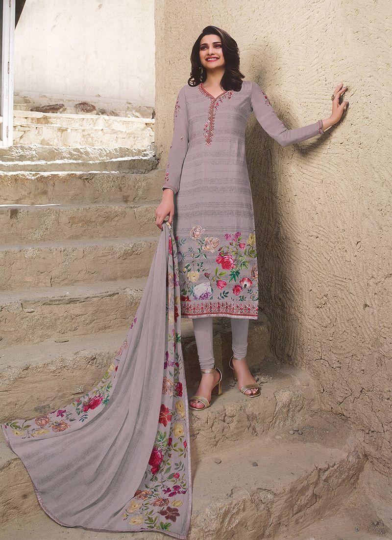 Embroidered Mauve  Prachi Desai Churidar Designer Suit
