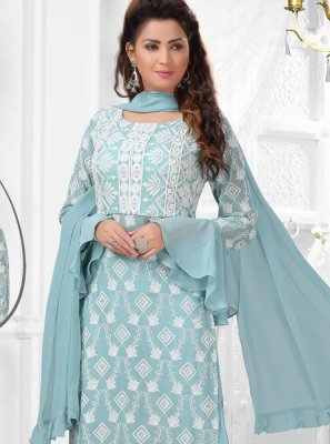 Embroidered Mehndi Salwar Suit