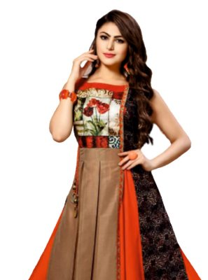 Embroidered Multi Colour Chanderi Casual Kurti