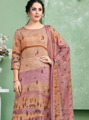 Embroidered Multi Colour Cotton Designer Palazzo Salwar Kameez