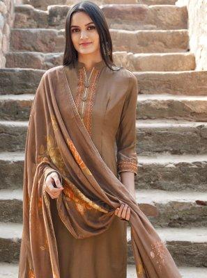 Embroidered Muslin Brown Trendy Designer Salwar Suit