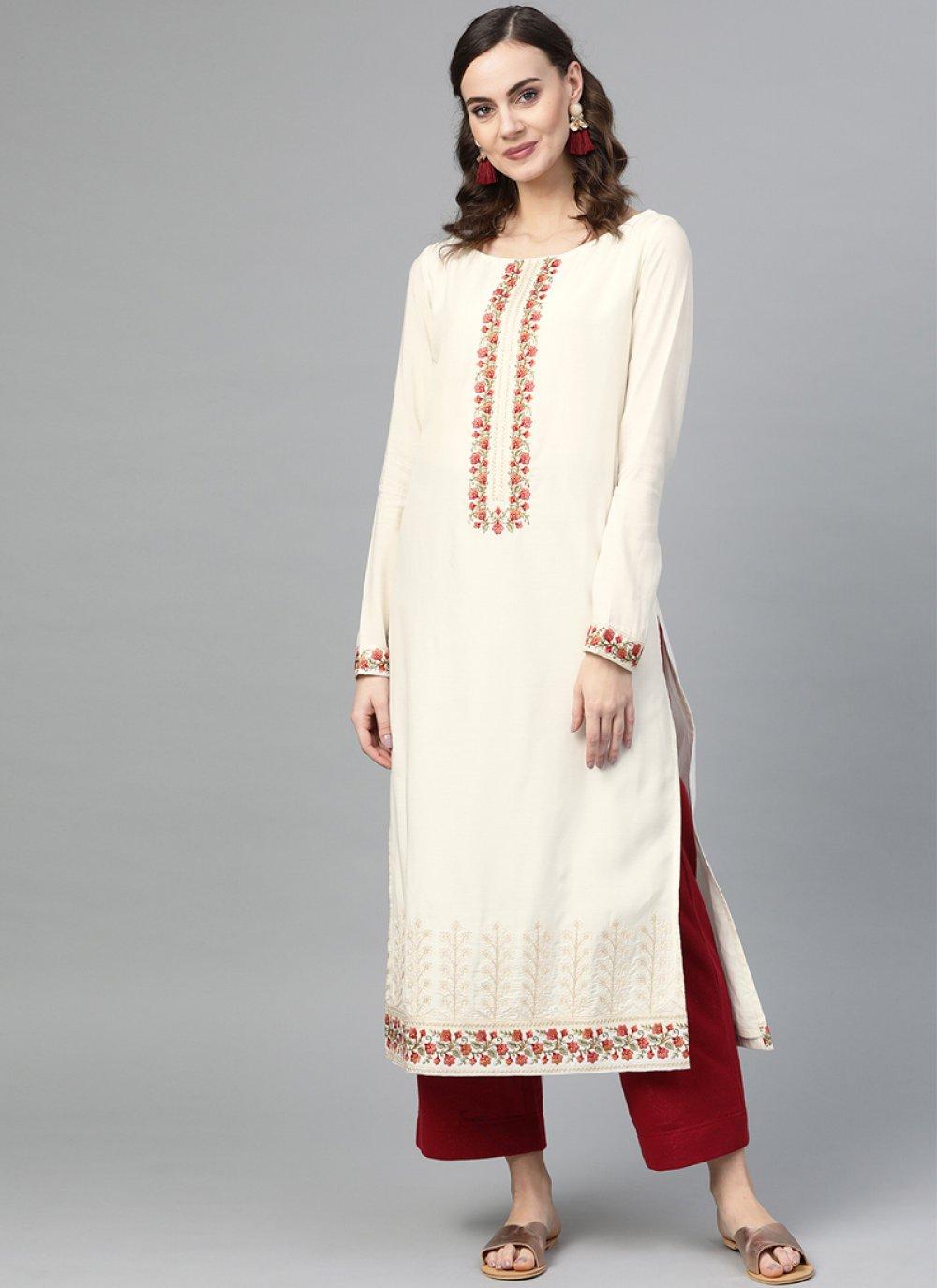 Embroidered Muslin Cream Palazzo Salwar Suit