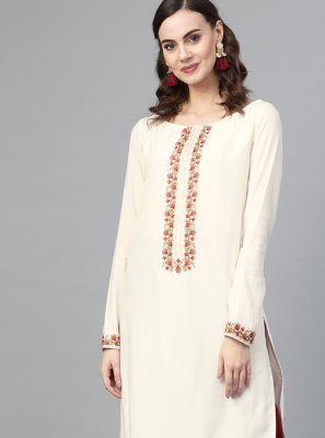 Embroidered Muslin Cream Palazzo Salwar Suit