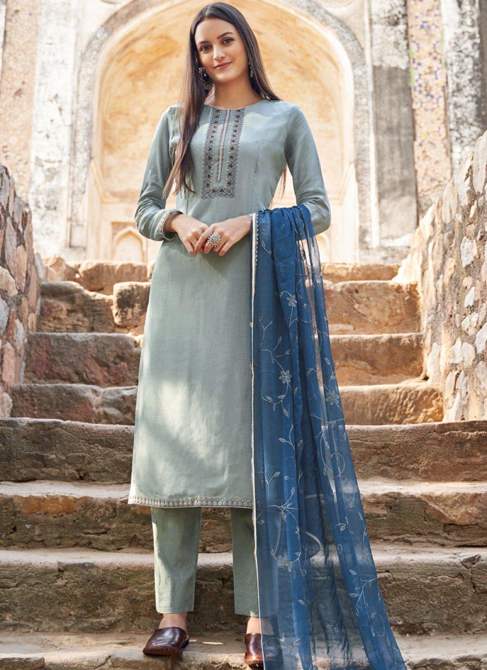 Embroidered Muslin Grey Designer Salwar Suit