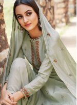 Embroidered Muslin Grey Salwar Suit