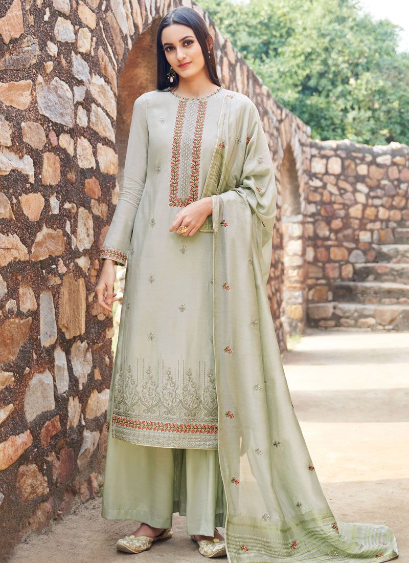 Embroidered Muslin Grey Salwar Suit