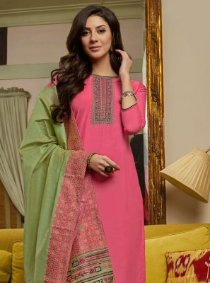Embroidered Muslin Hot Pink Designer Pakistani Suit