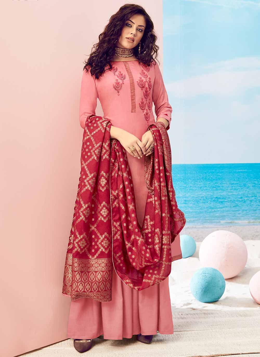 Embroidered Muslin Pink Trendy Salwar Suit