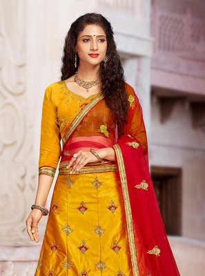 Embroidered Mustard Art Silk A Line Lehenga Choli