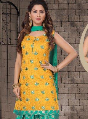 Embroidered Mustard Chanderi Designer Salwar Kameez