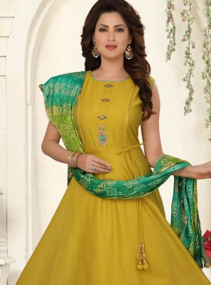 Embroidered Mustard Chanderi Salwar Suit