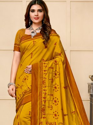 Embroidered Mustard Cotton Silk Classic Saree