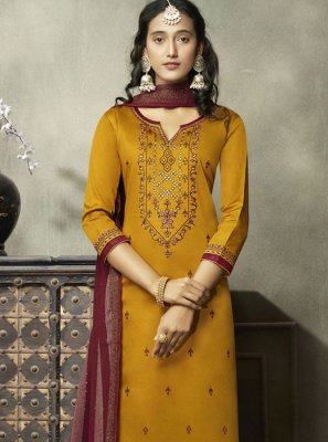 Embroidered Mustard Cotton Trendy Suit