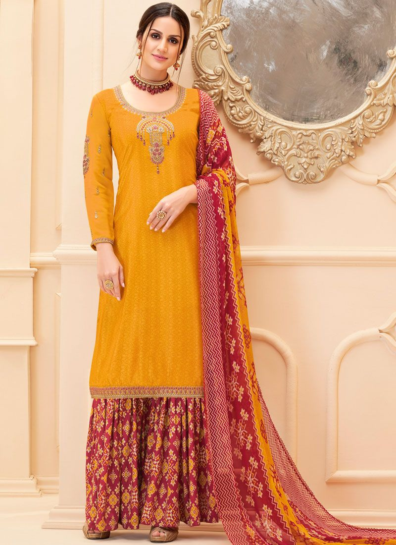 Embroidered Mustard Faux Crepe Salwar Suit