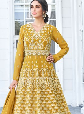 Embroidered Mustard Faux Georgette Anarkali Salwar Suit