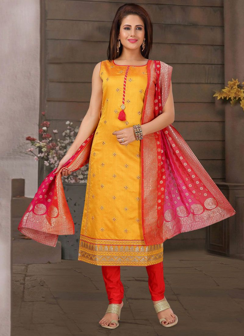 Embroidered Mustard Readymade Suit