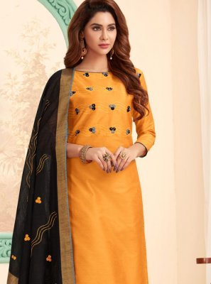 Embroidered Mustard Salwar Kameez