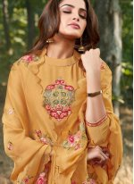 Embroidered Mustard Salwar Suit