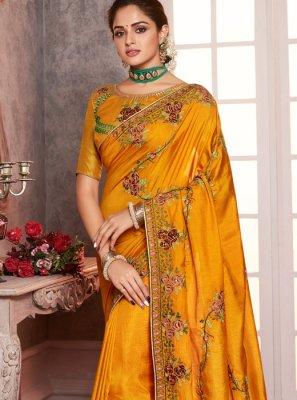 Embroidered Mustard Silk Classic Saree