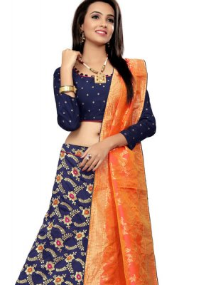 Embroidered Navy Blue Designer Lehenga Choli