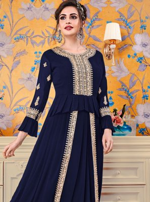 Embroidered Navy Blue Floor Length Trendy Gown