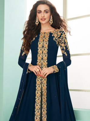 Embroidered Navy Blue Georgette Designer Suit