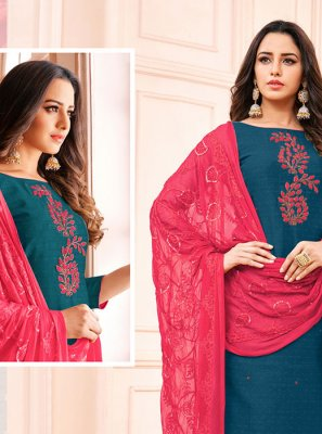 Embroidered Navy Blue Jacquard Churidar Designer Suit
