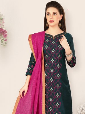 Embroidered Navy Blue Salwar Kameez