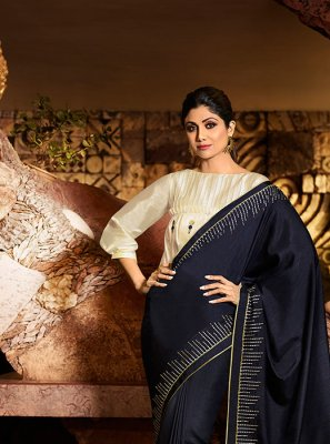 Embroidered Navy Blue Silk Designer Traditional Saree