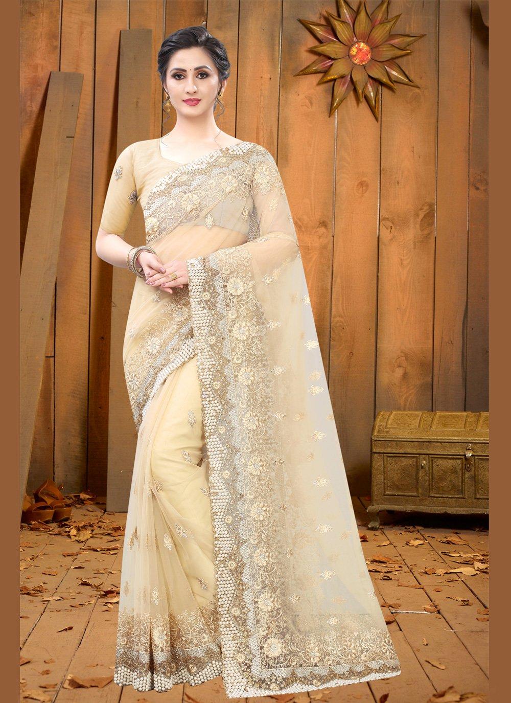 Embroidered Net Beige Trendy Saree