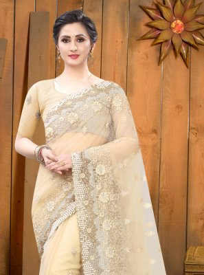 Embroidered Net Beige Trendy Saree